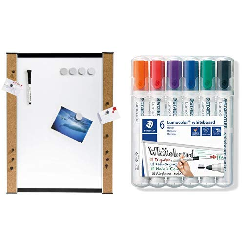 Genie 11213 Whiteboard (Beschreibbare Magnettafel mit Korkrand, 45 cm x 60 cm) & Staedtler Lumocolor 351 WP6 Whiteboard-Marker, Rundspitze ca. 2 mm Linienbreite, Set mit 6 Farben