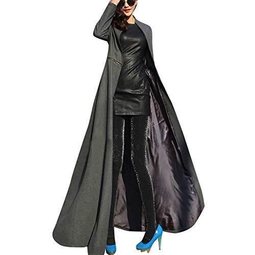 WUDUBE Giacca da Donna a Lunghezza Intera Cappotto Winder Breaker Slim Fit Lungo Trench Outwear Parka