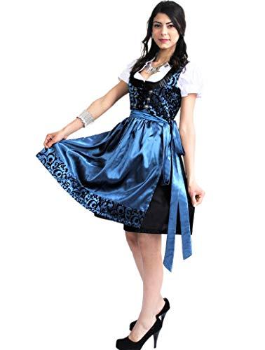 Bavarian Clothes Dirndl Damen Midi Trachtenkleid 037 mit Dirndlluse und Schürze Kleid 3 teilig Größe: 36, Blau Schwarz