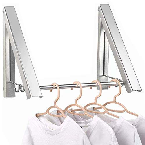 Gxhong Clothes Rack Hangers, Folding Coat Hanger Wall Mounted, Wall Coat Hanger, Aluminum Hanging Rod Wardrobe Hooks for Bedroom Bathroom Balcony Indoor Outdoor (2 Pieces)