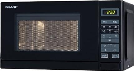 Sharp R242BKW Microondas 20L, Control Táctil, 800W, Black, 800 W, 20 litros