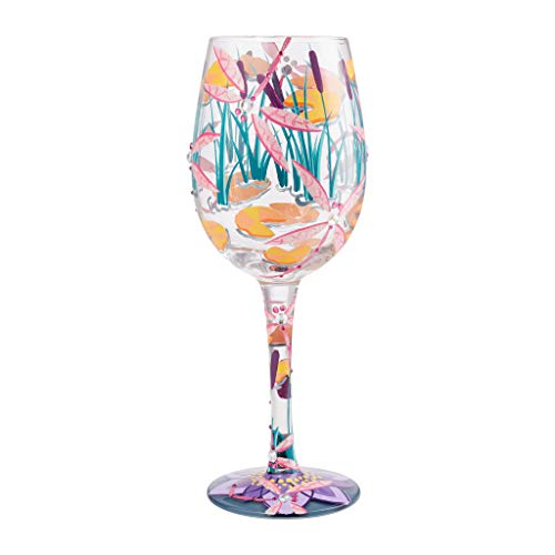 Enesco Designs by Lolita Dragonfly Magic Artisan - Copa de vino pintada a mano, 15 onzas, multicolor