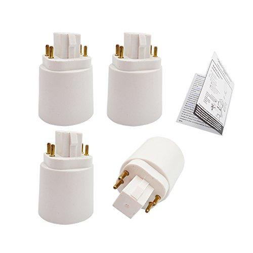 4pcs E-Simpo 4-Pin GX24Q to E26/E27 Light Socket Adapter Need Bypass...