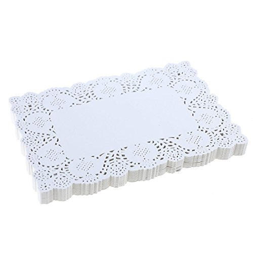 DECORA 9X6.5 Inch Rectangle White Paper Doilies for Birthday Party...