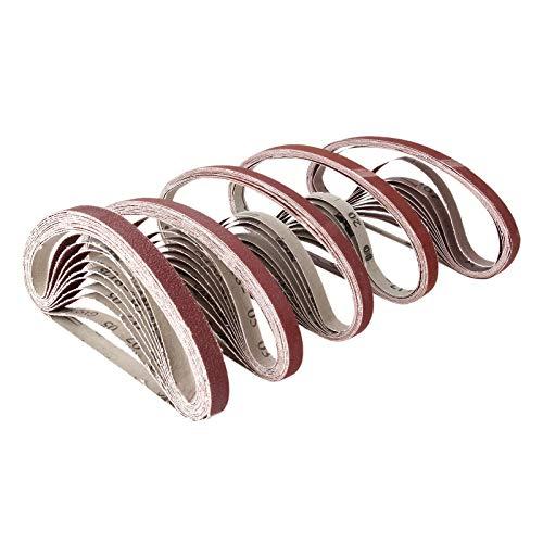 JINYIWEN Schuurband 10st Dremel Accessoires 15x452mm Schuurband Grit 60-600 Schuurmachine Slijpband Voor Boren Slijpen Polijstgereedschap