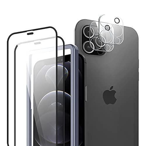 TOCOL 4 Stück Kompatibel mit iPhone 12 Pro Max 6.7 Zoll,2 Stück Panzerglas Full Screen Schutzfolie und 2 Stück Kamera Schutzfolie, 3D Volle Schutzglas Positionierungsrahmen Blasenfrei