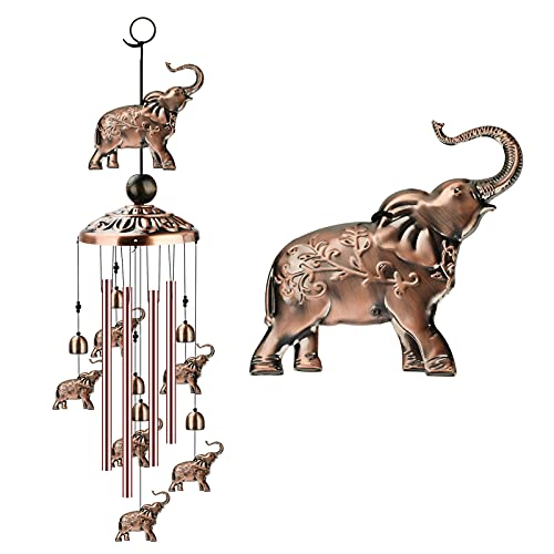 zootop Elephant Wind Chimes Outdoor, Copper Wind Chimes Decoration with 1...