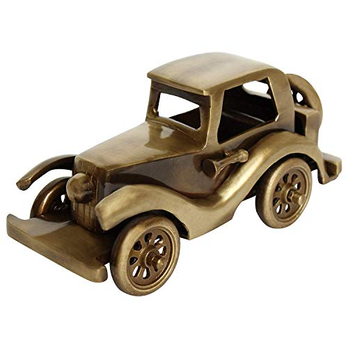 Sansto Vintage Brass Car for Home Décor, Toy Car for Christmas Decoration, Metal Detailed Handcrafted Rustic Showpiece for Centre Table, Mantel, Living Room, Kid's Room