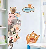 floolter Gato de Dibujos Animados Etiqueta casa de Alquiler reformador habitación de los niños Etiqueta de la Pared decoración Personalidad Dormitorio Etiqueta de la Pared 140 * 65 cm
