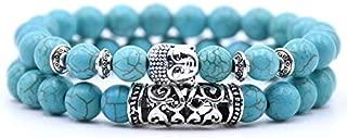 BAOKUANH Bracelet 2Pcs/Set Classic Beaded Bracelet 8Mm Natural Volcano Tiger Eye Beads Yoga Bracelets For Men And Women Jewelry Gifts