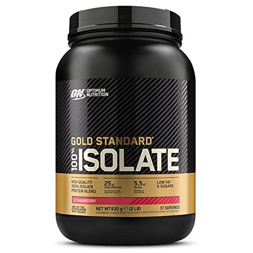 Optimum Nutrition 100% Gold Standard Isolate, Proteine Whey in Polvere con BCAA e Glutammina Naturale per Aumento della Massa Muscolare, Fragola, 31 Porzioni, 930 g