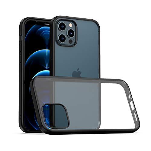 LAYJOY Funda Compatible con iPhone 6,1 Pulgadas (12, 12 Pro), Carcasa Ligera Silicona Negro Suave TPU Bumper y Transparente Duro PC Case Anti-Golpes Caso Cover - Clear