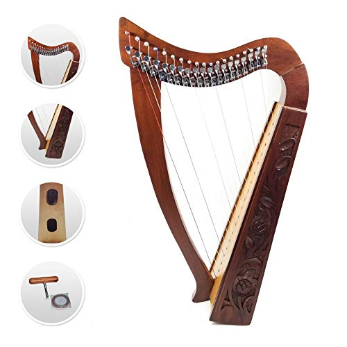 19 Strings Harp Irish Celtic Highland Solid Rosewood Natural Nylon Lever Tuning Key Extra Set included tall Roseback