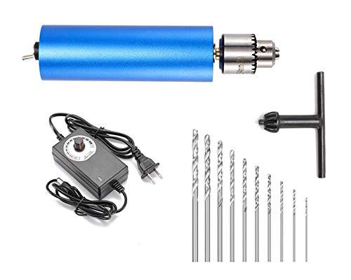 VOTOER 0.3-4mm Mini Electric Drill Micro Aluminum Hand Portable Handheld Drill Bits Puncher Rotary Tools DIY Kits, Speed Control Adjustment, 10pcs Micro Drills