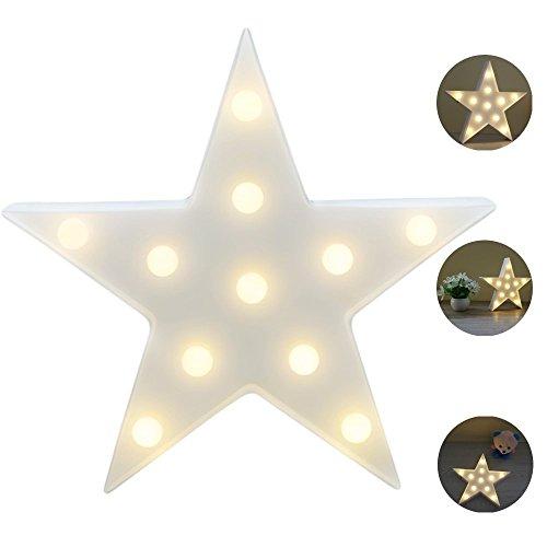 REKYO Laufschrift LED Nachtlicht, niedlichen LED-Lampen an Wand, Raum dekoratives Licht, Tisch Lampe Stimmung Beleuchtung Lampe Kinder Zimmer Weihnachten Deko (Sterne)
