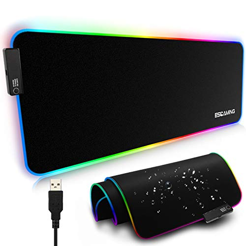 ESGAMING RGB Gaming Mouse Pad, 35.4' x 15.7' Large Extended Soft Led Mouse Pad with 14 Lighting Modes, Non-Slip Rubber Base Computer Keyboard Mousepads Mat for Gaming PC Laptop, Desk, Keyboard