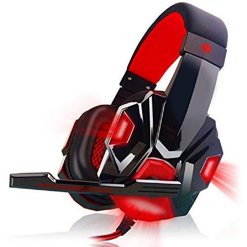 Vimoer Gaming-koptelefoon, instelbare koptelefoon met microfoon en LED-verlichting, USB-stereo-koptelefoon, compatibel met PS4, PC, Xbox One, 18 * 15 * 3, rood
