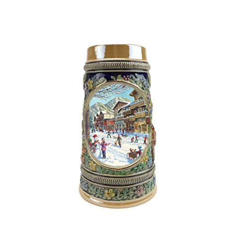 """Beer Stein """"Winter In Germany"""" Beer Mug by E.H.G (#1 in Collection of Four Steins) 