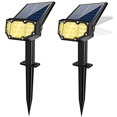 Solar Spotlight Outdoor Landscape Light 19 LED Waterproof with Adjustable Solar Panel and Adjustable Head Bright Warm Light 2-in-1 Powered Wall Light for Yard Walkway Driveway Garden 2 Pack