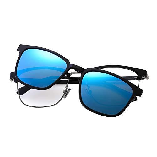 iKulilky - Gafas de sol polarizadas unisex retro vintage Myopie marco para hombres y mujeres marco de metal gafas de sol gafas de conductor negro azul tamaño único