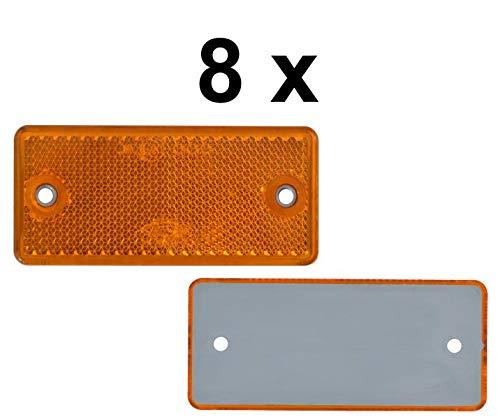 FKAnhängerteile 8 x Rückstrahler - Reflektor - Schrauben - 90 x 40 mm - Gelb - Prüfzeichen