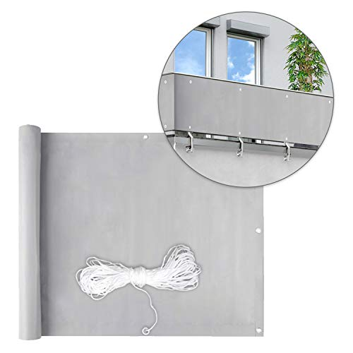 wolketon Balkon Sichtschutz Balkonabdeckung Balkonsichtschutz PVC Balkonverkleidung blickdichte Windschutz 90 x 600cm, mit Ösen, Nylon Kabelbinder, 100% Privatsphäre
