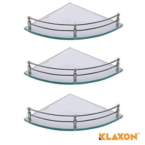 Klaxon Glass Corner Shelf (Glossy, Pack of 3)