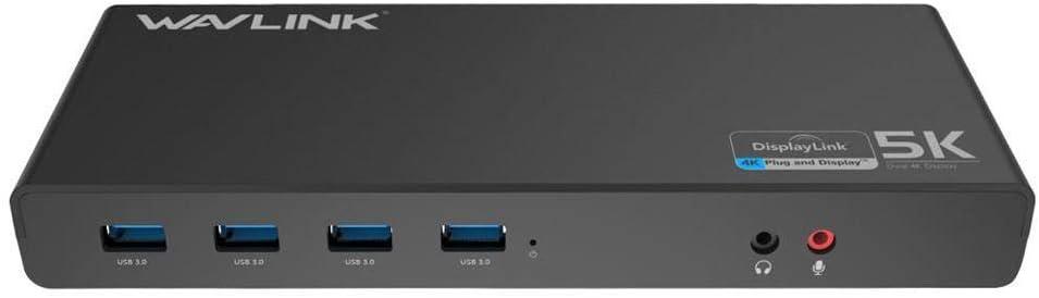 WAVLINK USB-C Dual 4K Docking Station (6X USB-A 3.0, 2X DisplayPort, 2X HDMI, 1x USB-C, 1x RJ45)