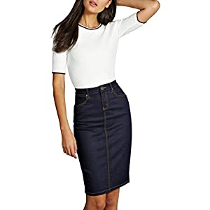 Women's Super Comfy Perfect Fit Stretch Denim Skirt