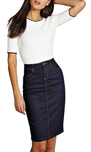 Lexi Womens Pull on Stretch Denim Skirt SK22880X Indigo 16