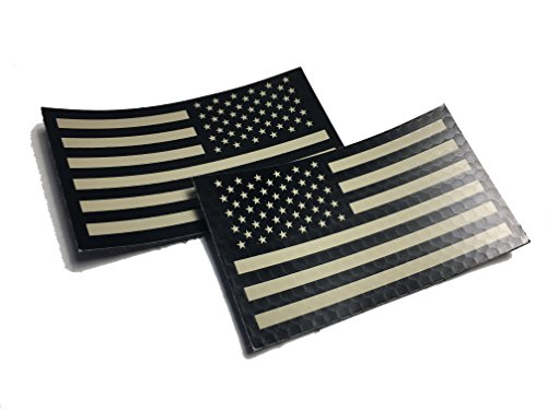 2 PACK Set - Authentic mil-spec 2' x 3.5' Black and Tan (FORWARD and REVERSED) Us Ir Infrared USA Flag Military Morale Reflective Patch