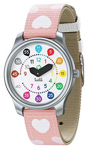 Twistiti Bunte und didaktische Uhr für Kinder mit Zahlenzifferblatt, klar für die Zeit, wasserdicht 50M, abnehmbares Armband