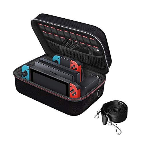 iVoler Etui pour Nintendo Switch, Deluxe Housse sacoche de Transport à Coque Rigide Anti Choc pochette avec Espace Plus Large pour Console Switch, Switch Dock, Joy-Cons, 18 Cartouche de Jeux et Autres
