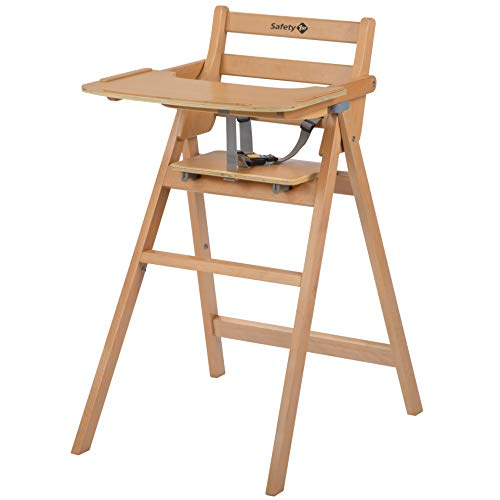 Safety 1st Nordik Chaise haute en bois de hêtre, avec plateau, fermeture compacte, facile à déplacer, couleur bois