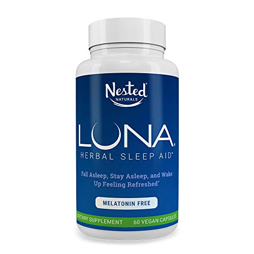 LUNA Melatonin-Free Sleep Supplement | Naturally Sourced Sleep Aid Without Melatonin | Valerian Root, Chamomile Extract, Lemon Balm & More | Herbal Non-Habit Forming Sleeping Pill | Non-GMO Vegan Caps