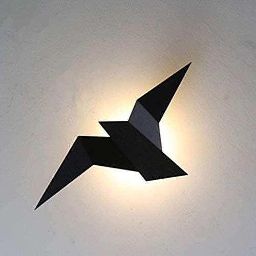 KDLAK Lámpara de pared LED moderna de metal negro, luces de pared de fondo con diseño de forma de pájaro, baño, dormitorio, sala de estar, escaleras del pasillo