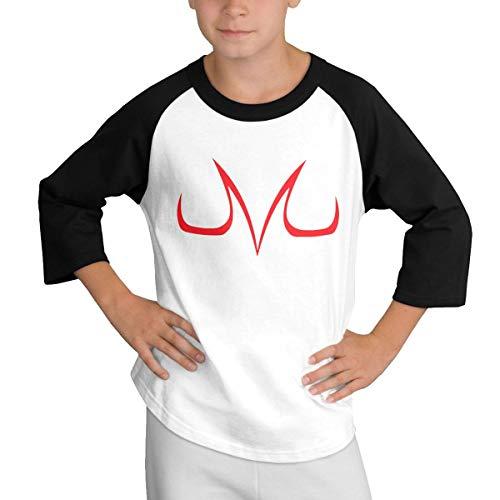 Children's 3/4 Sleeves Dragon Ball Z Evil Majin Buu Logo T-Shirt M Black