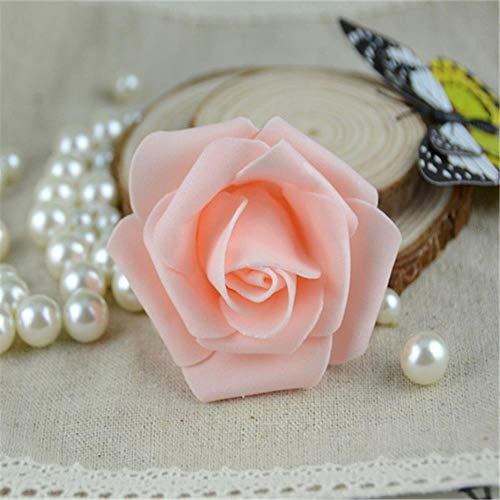 50 stks/partij 6 cm handgemaakte kunstmatige pe schuim rozen bloem hoofd bruiloft thuis auto decoratie diy krans kus bal nep bloemen, champagne