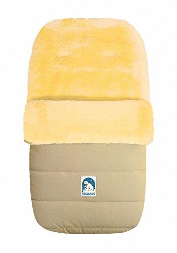 HEITMANN Warme baby winter lamsvacht voetenzak beige wasbaar, voor kinderwagen, buggy, ca. 86 x 47 cm, 5-punts riemsleuven