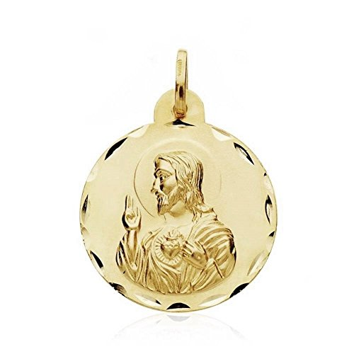 Medalla Oro 18K Escapulario Virgen Angustias 24mm. [Ab3438]