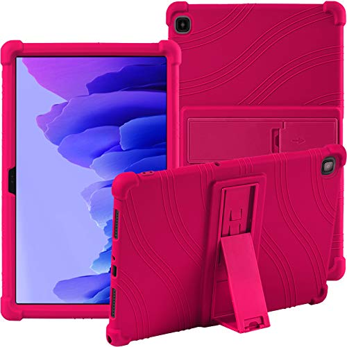 Samsung Galaxy Tab A7 10.4 Inch (SM-T500/T505/T507) Silicone Case, ATOOZ PC Holder Tablet Case, Anti-drop for Samsung Galaxy Tab A7 10.4'' 2020 Case (Rose Red)