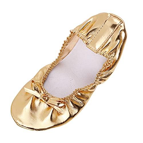 Sharplace Zapatillas de Cuero para el Vientre Zapatillas de Baile Calzado de Gimnasia Yoga para Mujeres - dorado, 41
