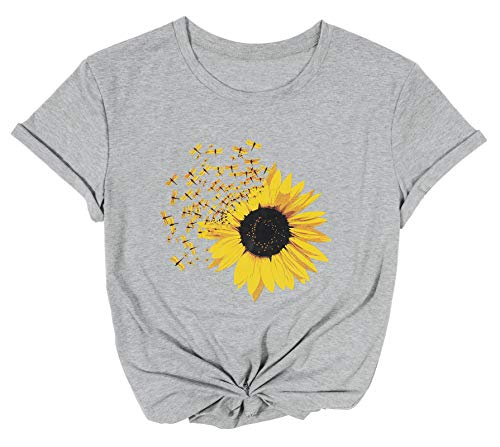 Dragonfly and Sunflower Art T-Shirt for Women Short Sleeve Sunshine Floral Watercolor Flower Tee Shirt Grey