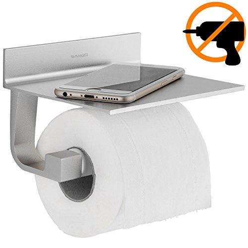 Wangel Portarrollo para Papel Higiénico, Pegamento Patentado + Autoadhesivo, Aluminio, Acabado Mate...