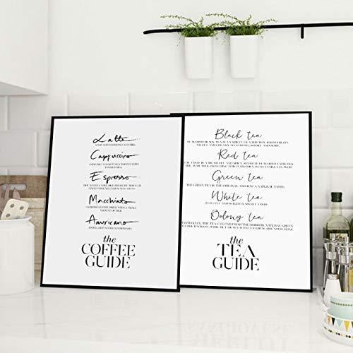JinYiGlobal Coffee Guide Tea Posters and Prints Vino Champagne Arte de la Pared Pintura en Lienzo Cuadros de la Pared para la habitación Arte Moderno Decoración de la Pared 55x75cmx2Pcs Sin Marco