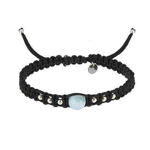 Schmuck Les Poulettes - Shamballa Armband Silber und Blau Larimar Dominikanische