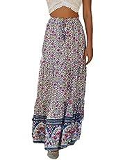 GAGA Women's Bohemian Floral Printed Elastic Waist Skirt A Line Long Maxi Skirts