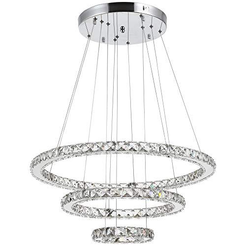 HOMCOM Lámpara de Araña de Cristal Moderna, Lámpara Colgante, 3 Anillos Lámpara de Techo para Salón Comedor Ángulo Ajustable Iluminación Interior Moderna Ф60x110 cm