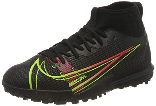 Nike JR Superfly 8 Academy TF, Zapatillas de ftbol, Black Cyber Off Noir Rage Green Siren Red, 37.5 EU