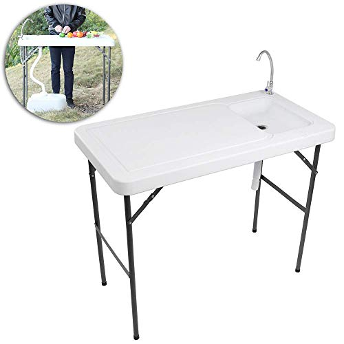 VINGLI Outdoor Folding Fish and Game Cleaning Table w/Sink| Portable & Durable, Standard Garden Connection, Upgraded Drainage Hose, Stainless Steel Faucet